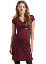 Queen Bee Short Sleeve Maternity Cocktail Dress in Burgundy by Esprit