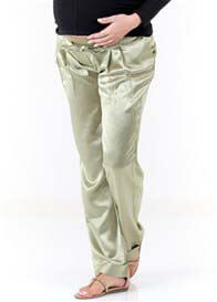 Queen Bee Venice Evening Maternity Trousers in Khaki by Slacks & Co
