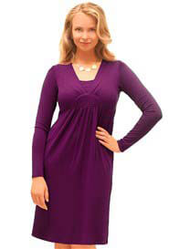 Queen Bee Radiant LS Nursing Dress in Purple by Milk Nursingwear