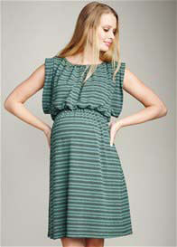 Queen Bee Mojito Green Stripe Kimono Maternity Dress by Maternal America