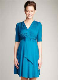 Maternal America - Teal Front Tie Nursing Dress