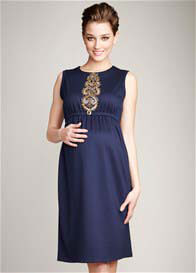 Maternal America - Navy Beaded Shift Dress
