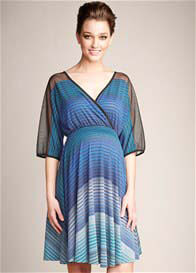 Queen Bee Blue Mason Print Maternity Dress by Maternal America