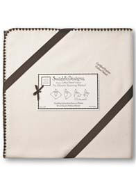 Swaddle - Natural Organic Receiving Blanket w Brown Trim