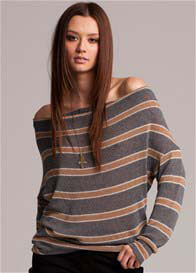 Queen Bee Storm Grey/Camel Striped Open Back Jumper by LA Made