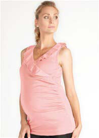 Queen Bee Rose Pink Ruffle Maternity/Nursing Top by LA Made