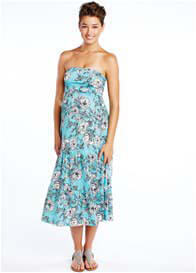 Queen Bee Blue Floral Print Maternity Dress/Skirt by Maternal America