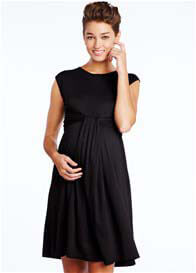 Queen Bee Cascade Maternity Dress in Black by Maternal America