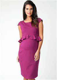 Queen Bee Magenta Cap Sleeeve Peplum Maternity Dress by Ripe Maternity