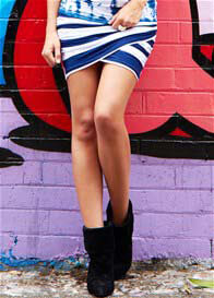 Fillyboo - Electric Dreams Skirt in Navy Stripe
