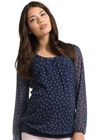 Queen Bee Sheer Blue Bird Print Maternity Blouse by Esprit