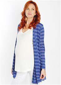 Queen Bee Sherman Maternity Cardigan in Royal Blue Stripes by Everly Grey
