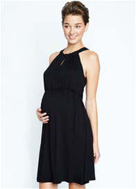 Queen Bee Black Halter Tie Maternity Party Dress by Maternal America