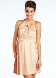 Queen Bee Peach Halter Tie Maternity Dress by Maternal America