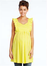 Queen Bee Canary Yellow Frill Maternity Tunic by Maternal America