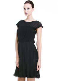 Dote - Betty Pleat Nursing Dress in Black