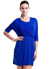 Queen Bee Megan 3/4 Sleeve Nursing Dress in Blue by Dote Nursingwear