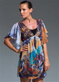 Milky Way - Calypso Tunic in Feather Print w Nursing Slip