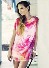 Queen Bee Coast Tunic Dress in Desire Print w Slip by Milky Way Nursingwear