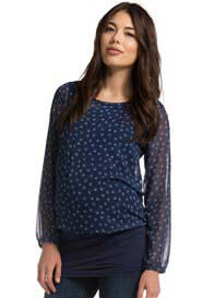 Queen Bee Blue Bird Print Layered Maternity Tunic by Esprit