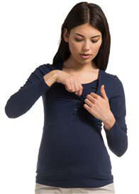 Queen Bee Space Blue Maternity/Nursing Henley by Esprit