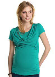 Queen Bee Cowl Neck Maternity/Nursing Top in Crystal Green by Esprit