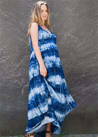 Queen Bee Story Of Maternity Maxi Dress in Batik Blue by Fillyboo