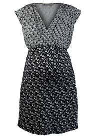 Queen Bee Small Circles Black Print Maternity Dress by Queen mum