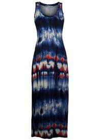 Queen Bee Blue Tie Dye Print Maternity Maxi Dress by Queen mum