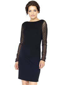 Crave - Sheer Spot Sleeve Body Con Dress