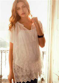 Queen Bee Embroidered Voile Maternity Blouse in White by Crave