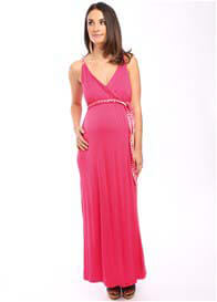 Queen Bee Sofia Maternity Maxi Dress in Coral by Everly Grey