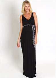 Queen Bee Sofia Maternity Maxi Dress in Black by Everly Grey