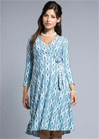 Queen Bee Robin's Egg Blue Print Wrap Maternity Dress by Leota