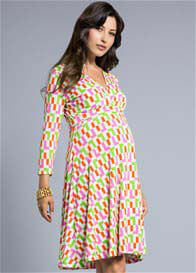 Queen Bee L Train Print Perfect Wrap Maternity Dress by Leota
