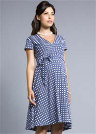Queen Bee Blue Basket Print Perfect Wrap Maternity Dress by Leota