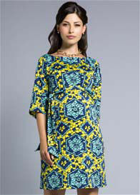 Queen Bee Stained Glass Blue/Yellow Nouveau Sheath Maternity Dress by Leota