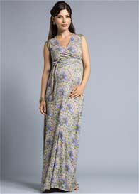 Queen Bee Vintage Peacock Print Maternity Maxi Dress by Leota