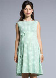 Queen Bee Mint Green Basket Print Maternity Swing Dress by Leota