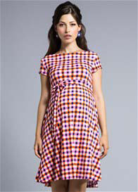 Queen Bee Pink Gingham Picnic Print Cap Sleeve Maternity Dress by Leota