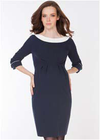 Seraphine - Navy Blue Boat Neck Dress