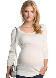 Queen Bee Delightful Bow Maternity Knit Jumper in Off-White by Esprit