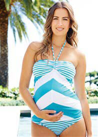 Queen Bee Stella Turquoise Stripe Maternity Tankini by Maternal America