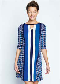 Queen Bee Crystal Blue Print Maternity Dress by Maternal America