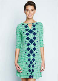 Queen Bee Green Print Keyhole Maternity Dress by Maternal America