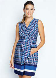 Queen Bee Blue Crystal Print Front Tie Maternity Dress by Maternal America