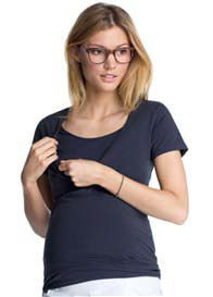 Queen Bee Cinder Blue Short Sleeve Maternity/Nursing Top by Esprit