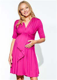 Maternal America - Mini Front Tie Dress in Fuchsia