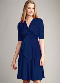Queen Bee Mini Front Tie Maternity Dress in Navy by Maternal America