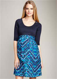 Maternal America - Turquoise Print Scoop Front Tie Dress